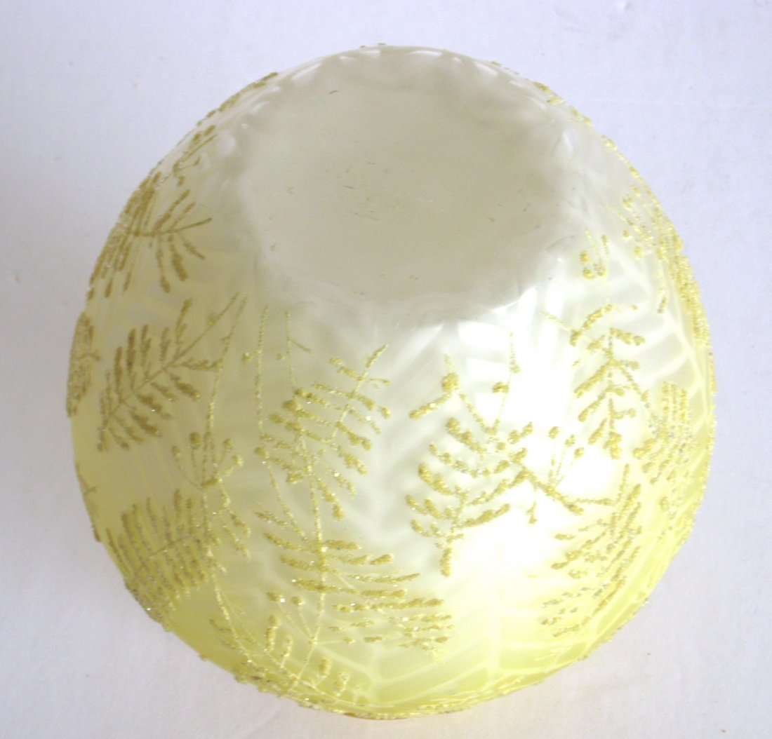 Victorian Coralene MOP glass vase, - 4