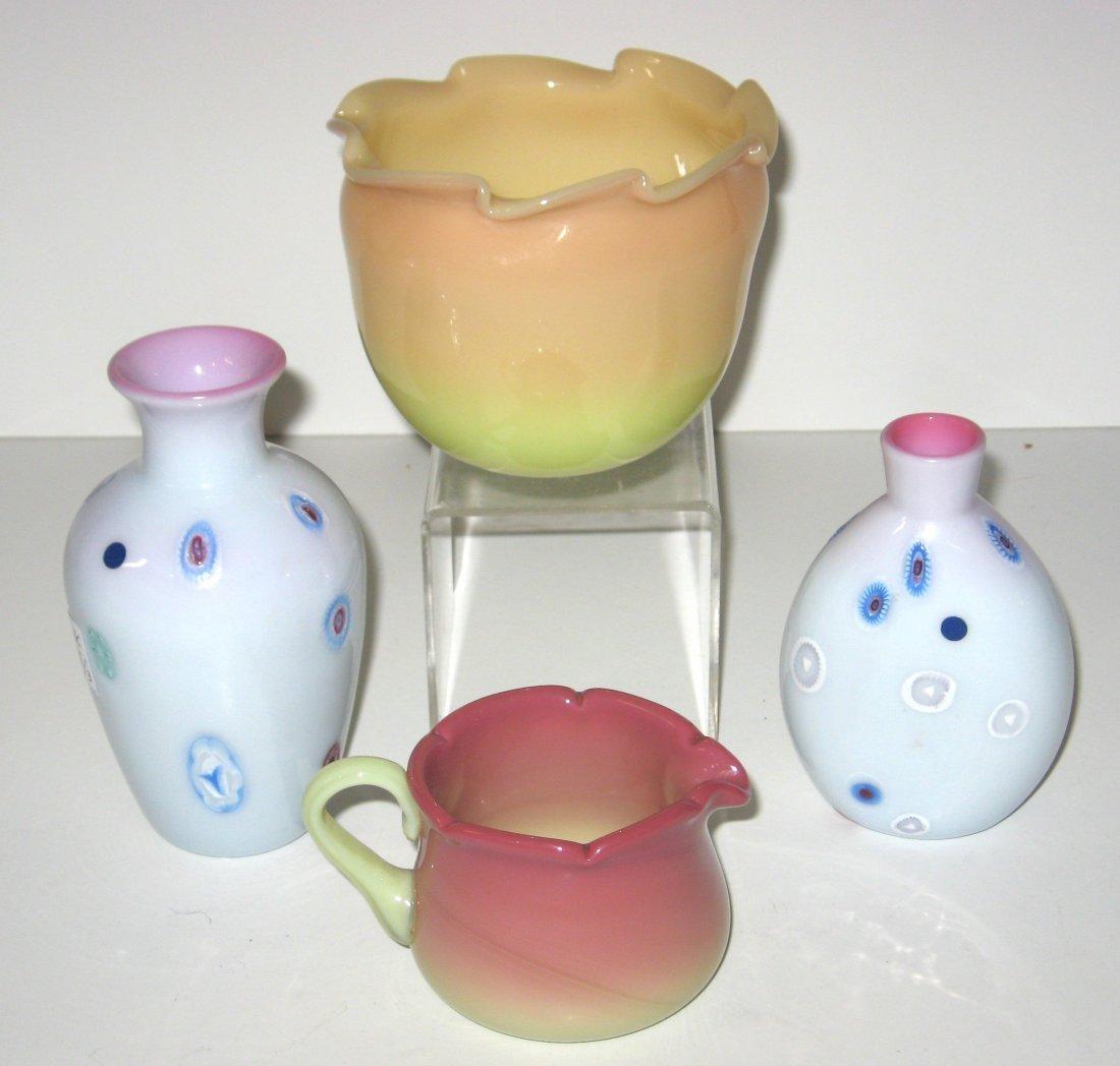 Four Burmese/Peachblow glass items,