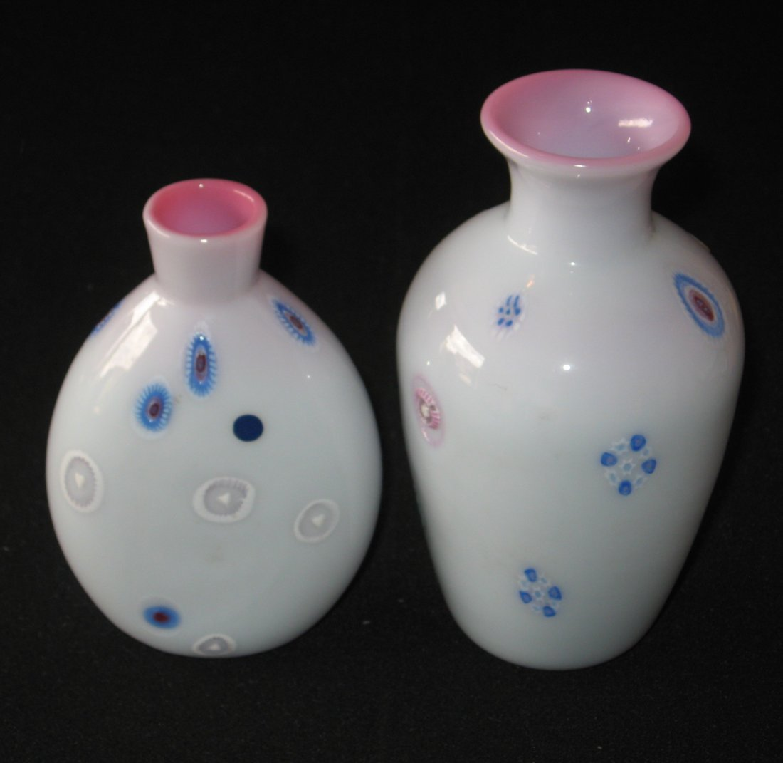 Four Burmese/Peachblow glass items, - 2