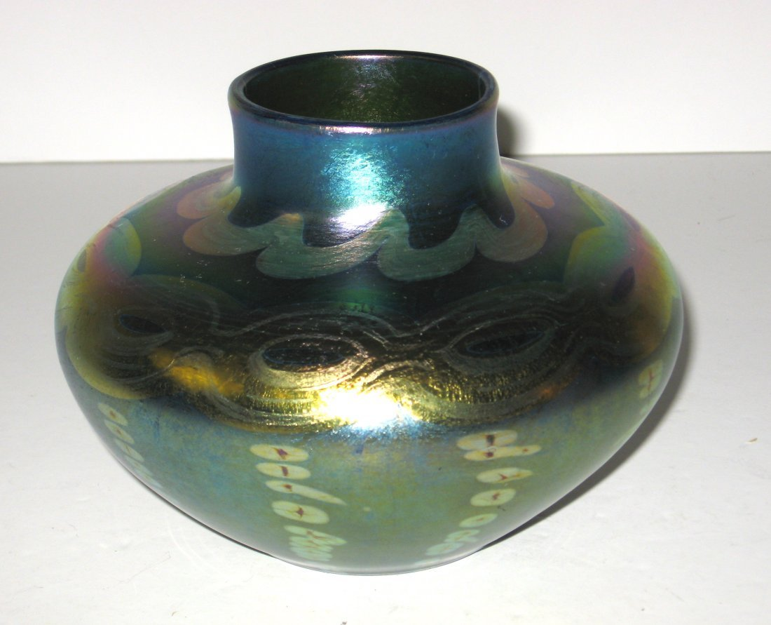 Tiffany decorated Favrile glass vase,