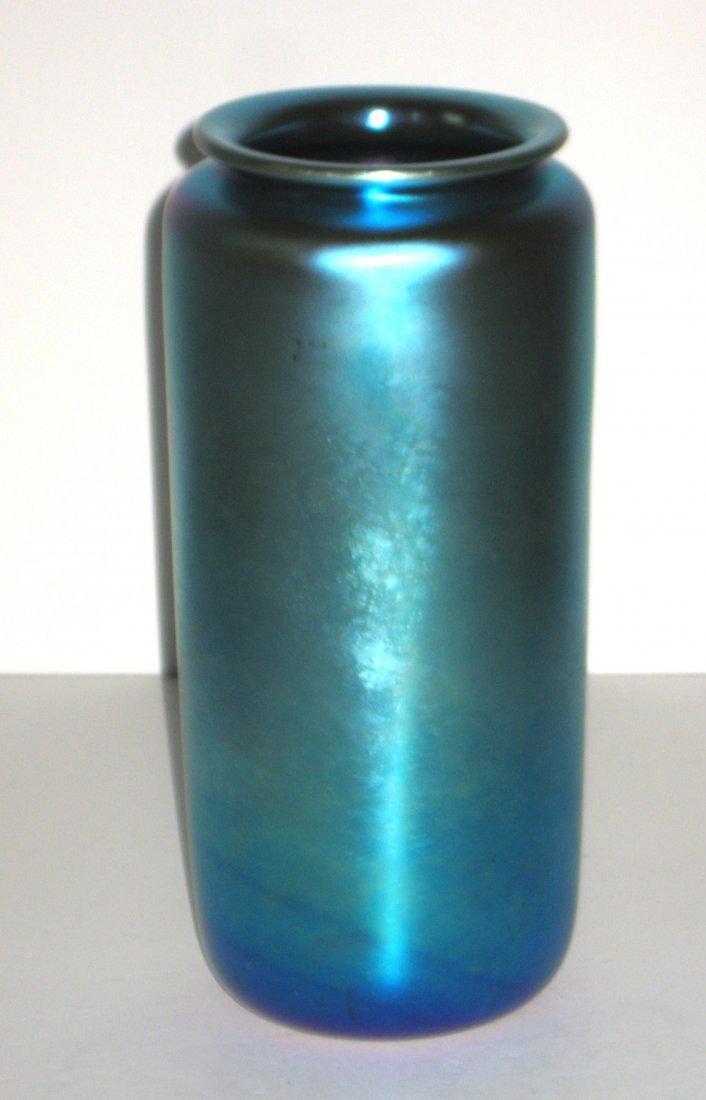 Large Steuben blue Aurene glass vase,