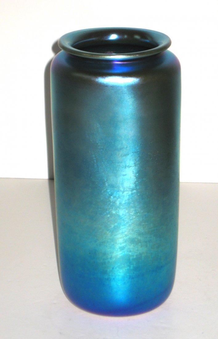 Large Steuben blue Aurene glass vase, - 2