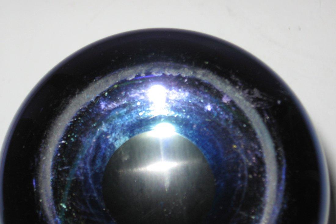 Large Steuben blue Aurene glass vase, - 5