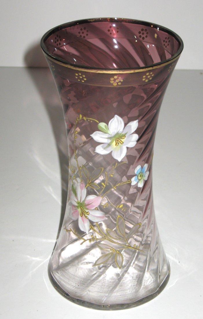 Mount Joye enameled glass vase