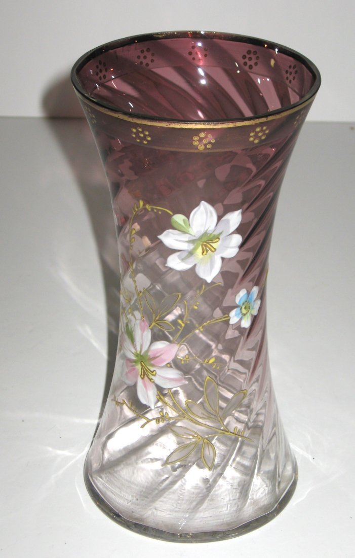 Mount Joye enameled glass vase