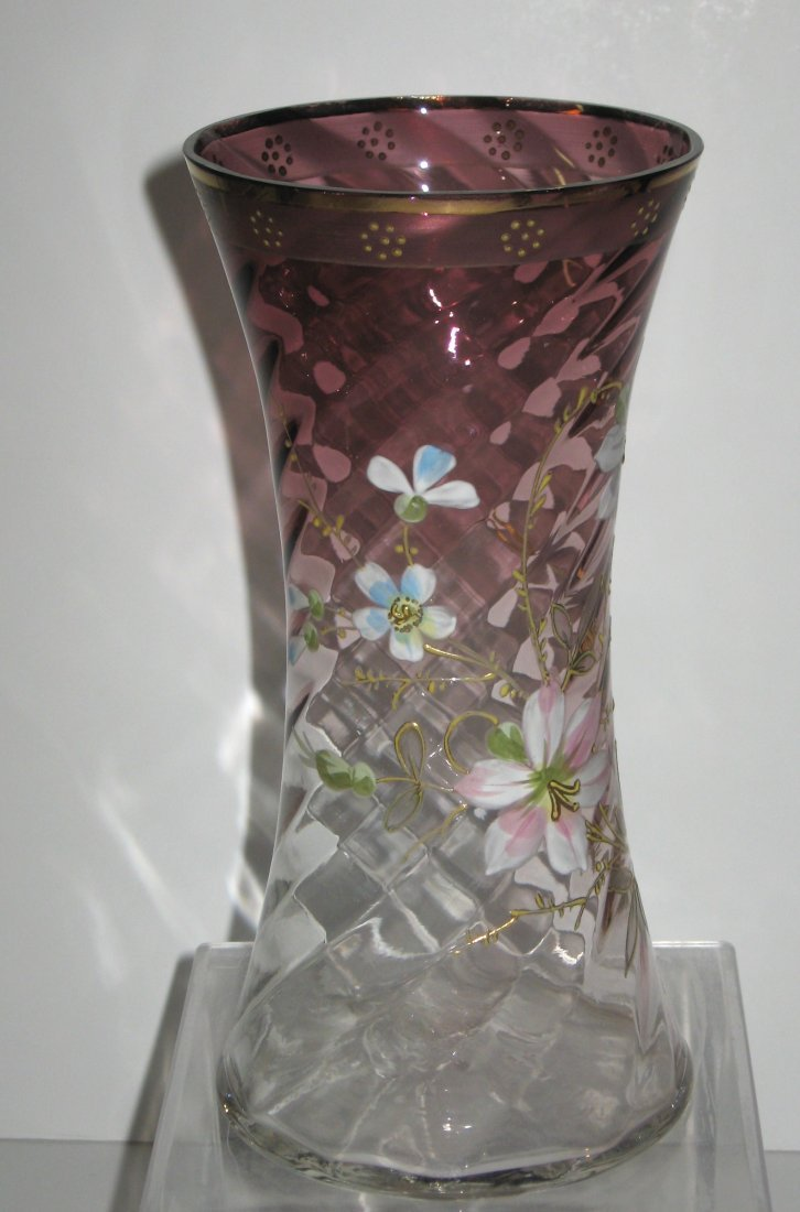 Mount Joye enameled glass vase - 2
