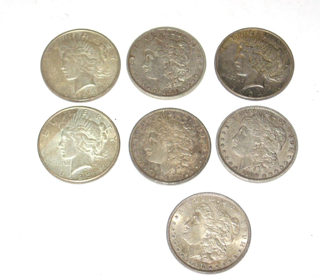 Group of Seven Silver dollars,