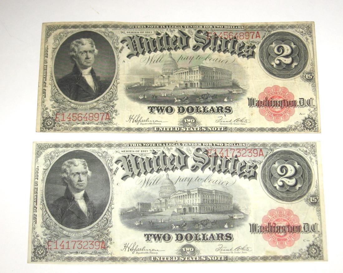 Two series 1917 large two dollar bills,