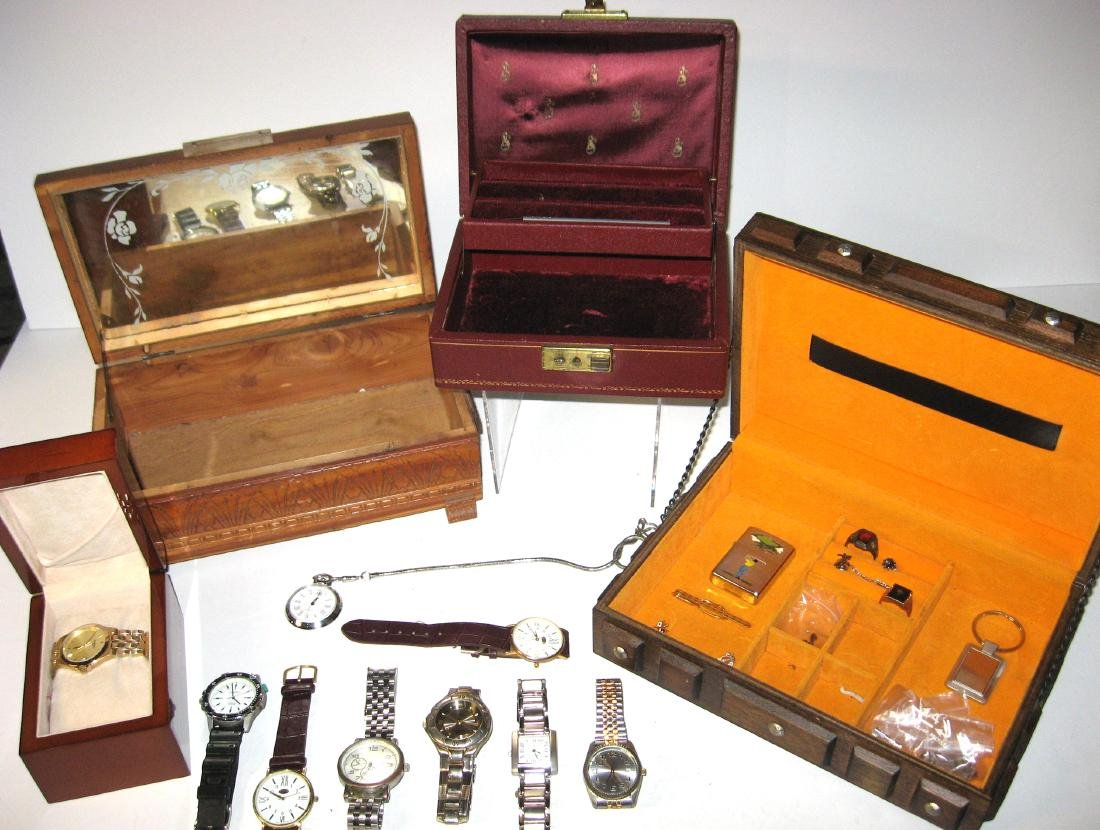 Group of men's watches and jewelry boxes,