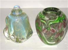 Two piece grouping of contemporary glass,