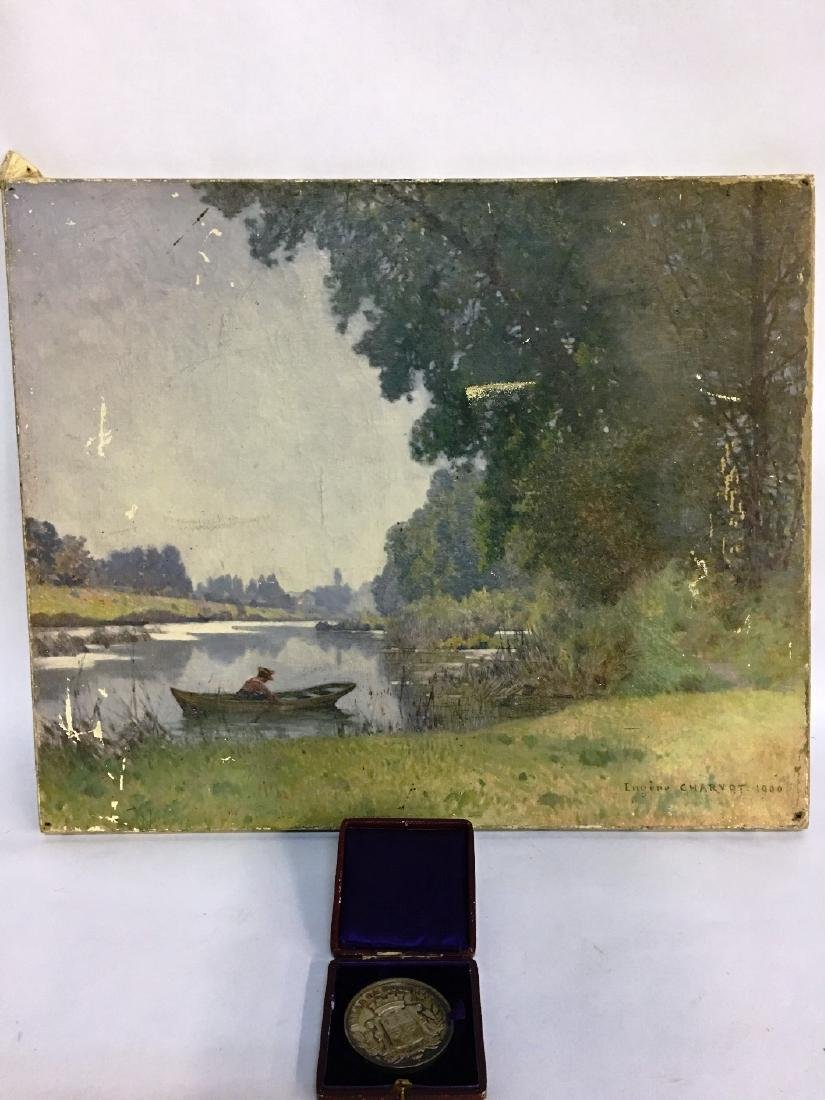 OIL ON CANVAS SIGNED BY EUGENE CHARVOT 1900 AND A