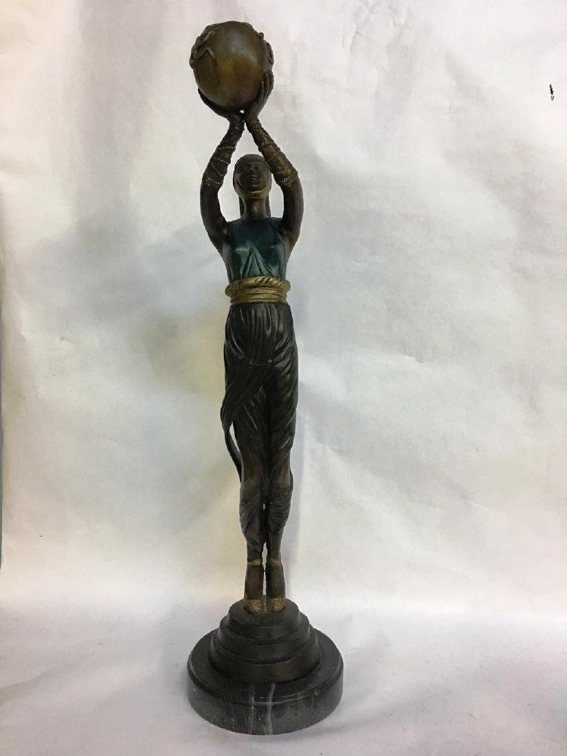 ERTE BRONZE WOMAN HOLDING UP SPHERE