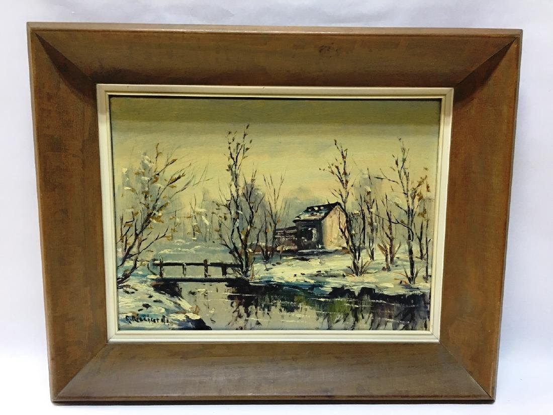 COTTAGE BY CREEK IN WINTER BY C. RICCIARDI
