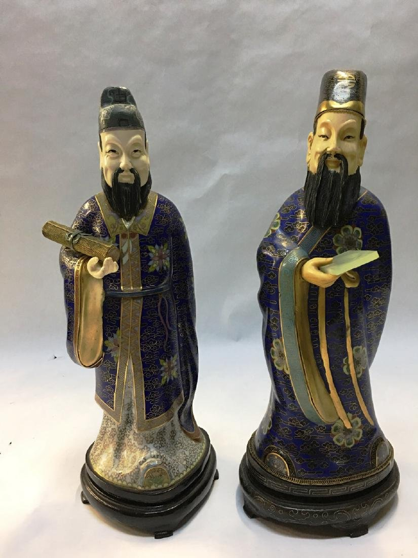 PAIR OF CLOISONNE WISE MEN