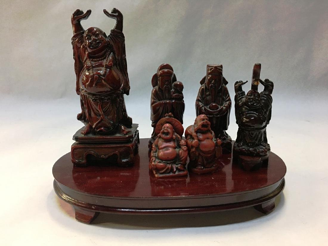 7 PIECES OF ROSEWOOD FIGURINES