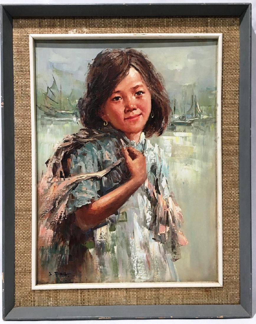LEE MAN FONG (1913-1988) SIGNED YOUNG GIRL PORTRAIT