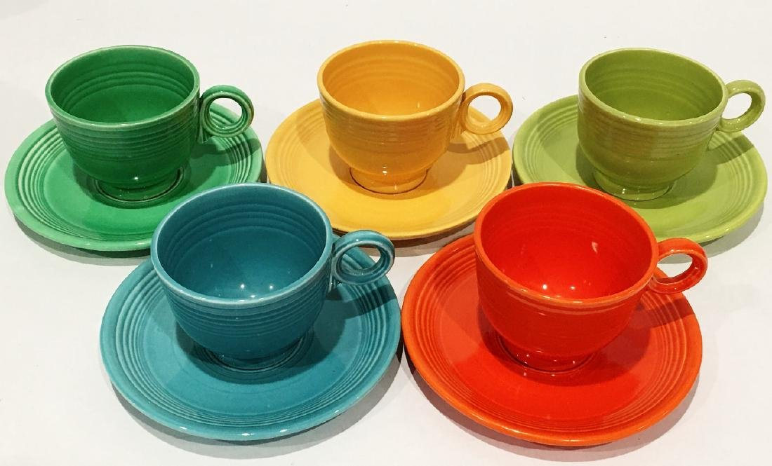 5 FIESTA HLC CUPS AND SAUCERS