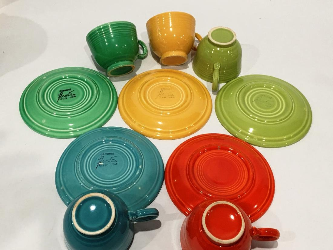 5 FIESTA HLC CUPS AND SAUCERS - 2