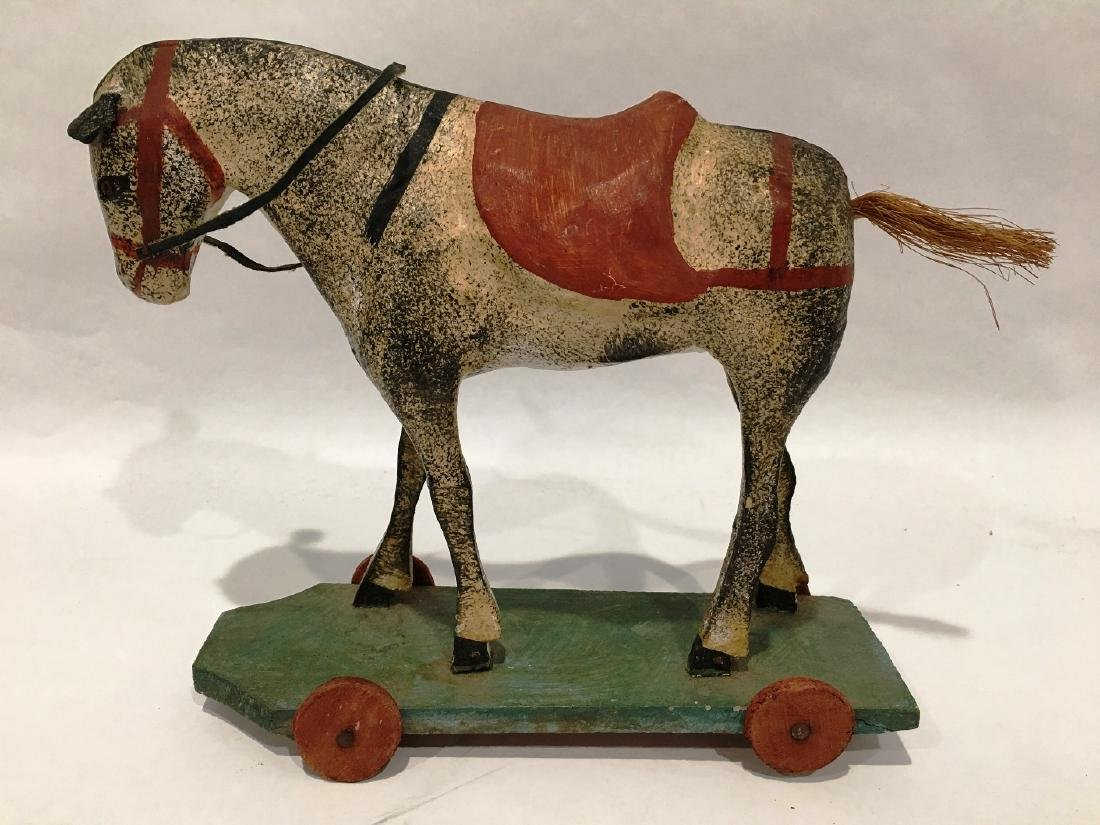 VINTAGE HORSE PULL TOY ON WHEELS