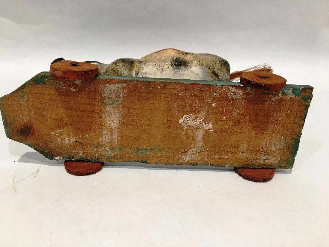 VINTAGE HORSE PULL TOY ON WHEELS - 2