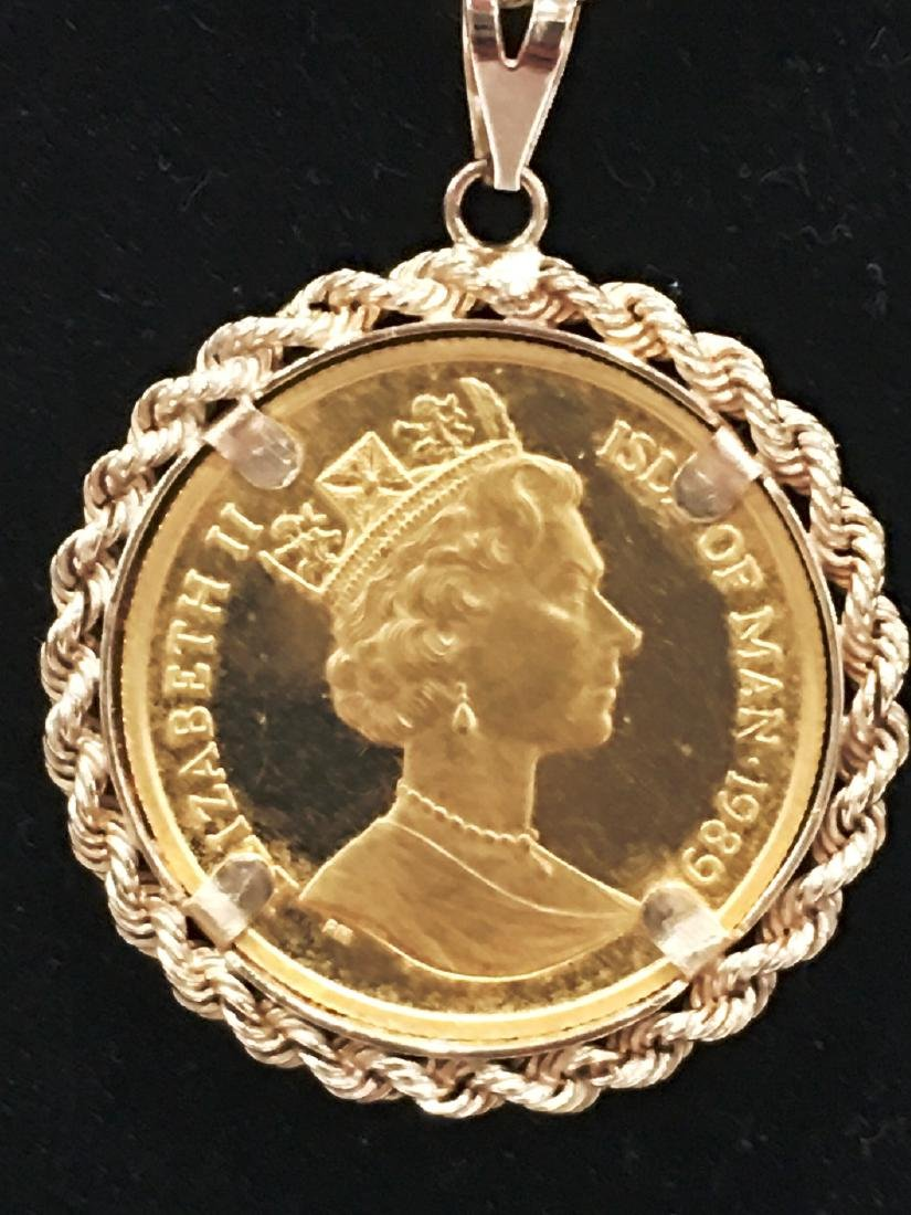 ELIZABETH II ISLE OF MAN 1989 GOLD 1/5 OZ AU CROWN WITH