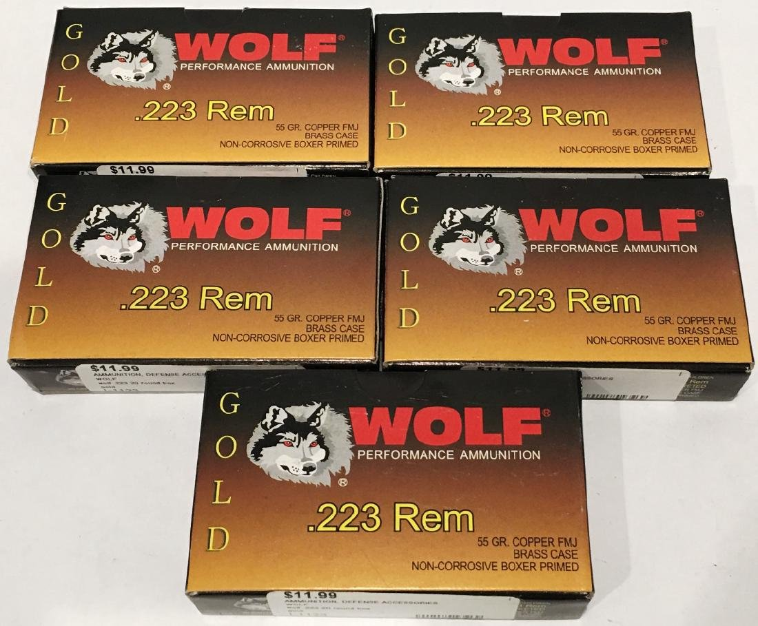 5 BOXES GOLD WOLF .223