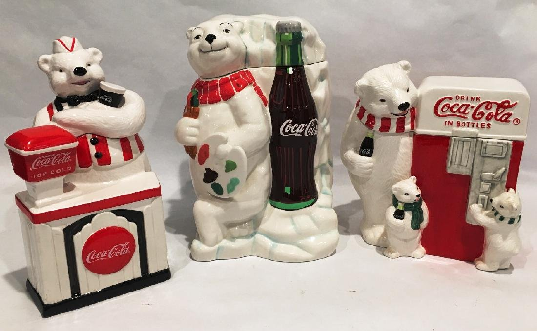 3 COCA-COLA COOKIE JARS