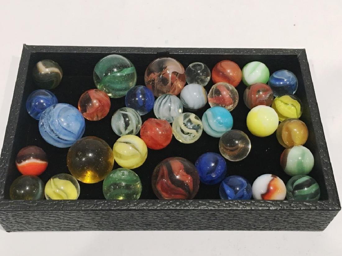 APPROX. 35 ASSORTED MARBLES