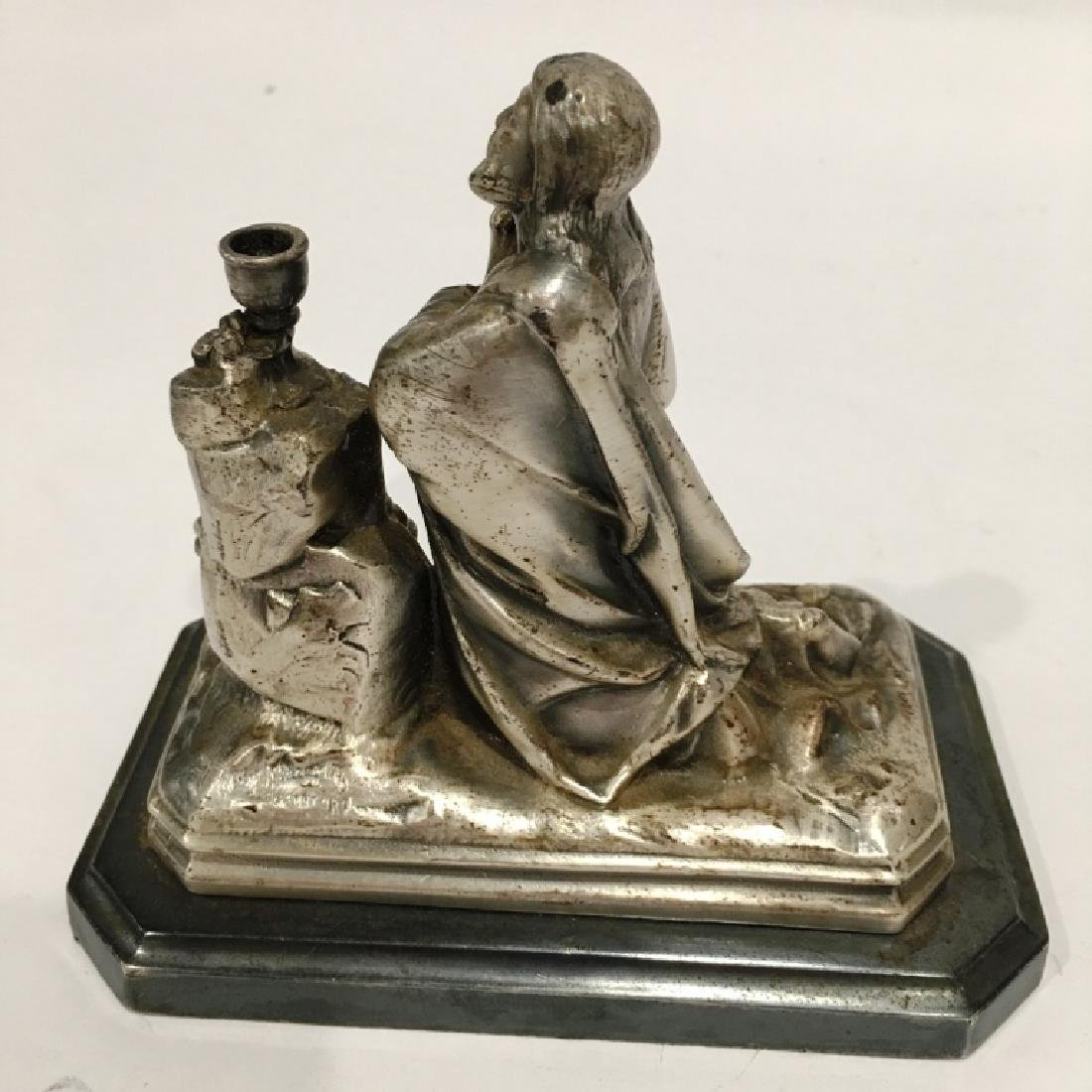 SILVER KNEELING RELIGIOUS FIGURE - 2
