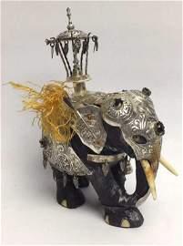 Jeweled Silver and Wood Elephant