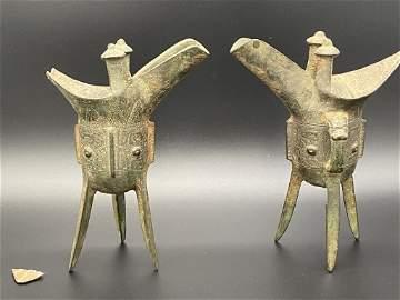 Pr Archaic Bronze Shang Dynasty Ritual Wine Vessels Jue