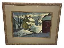 Henry Gasser, Winter Scene, Oil on Board
