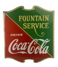 """1935 Coca-Cola """"Fountian Sevice†Double-Sided Sign"""