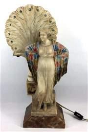 Art Nouveau Carved Alabaster Figural Table Lamp