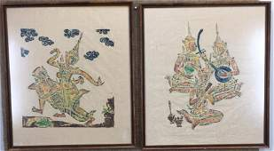 Pair of Temple Rubbings on Clothe
