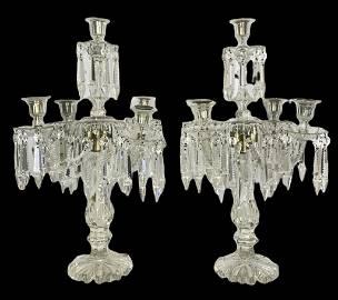 Grand Pr Baccarat Style Crystal 5 Lt Candelabras