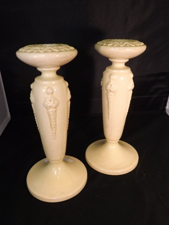 12: Pair of Roseville Candlesticks
