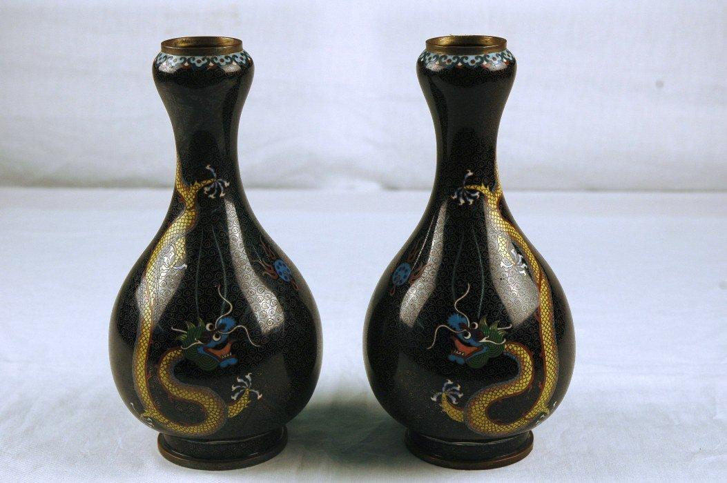 4: Cloisonne Pair of Vases