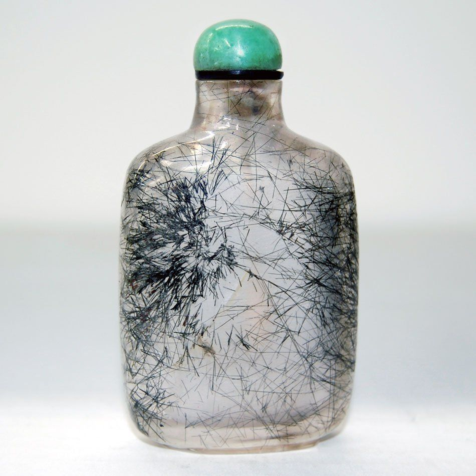 Chinese Republic Rutilized Crystal Snuff Bottle