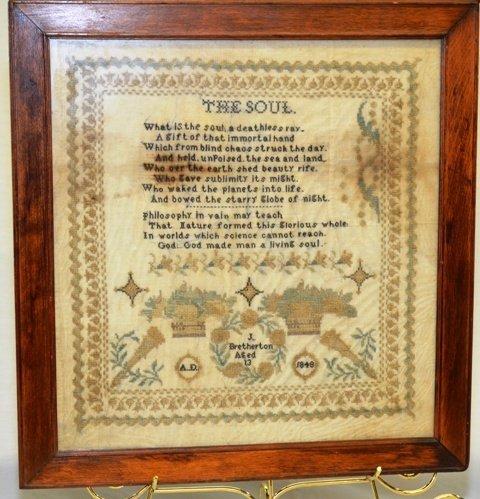 FRAMED NEEDLEPOINT SAMPLER DATED 1848