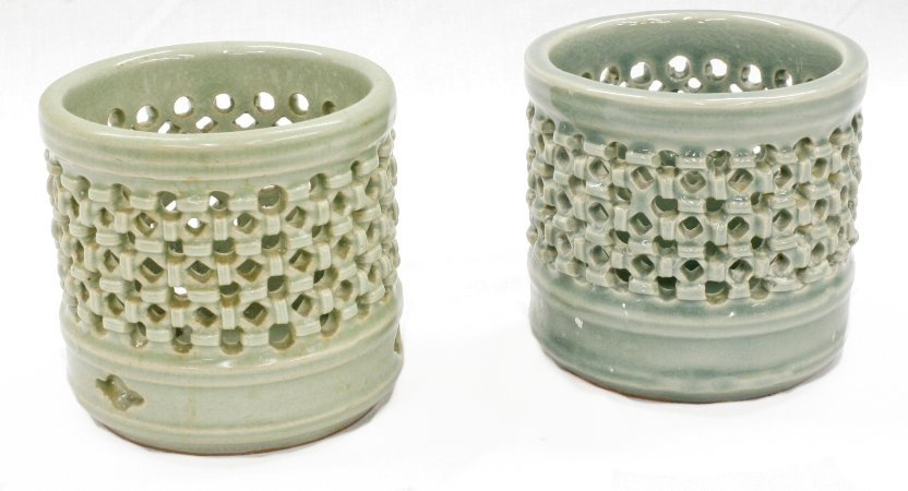 Celadon Jars with cutwork, pair, marked
