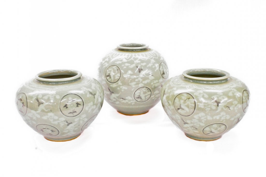 Celadon Vase 3pc Set