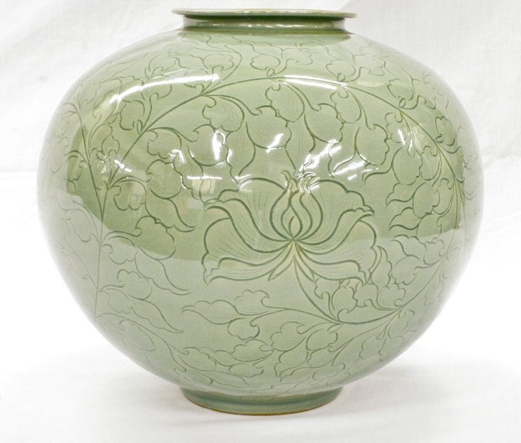 Celadon Vase, marked