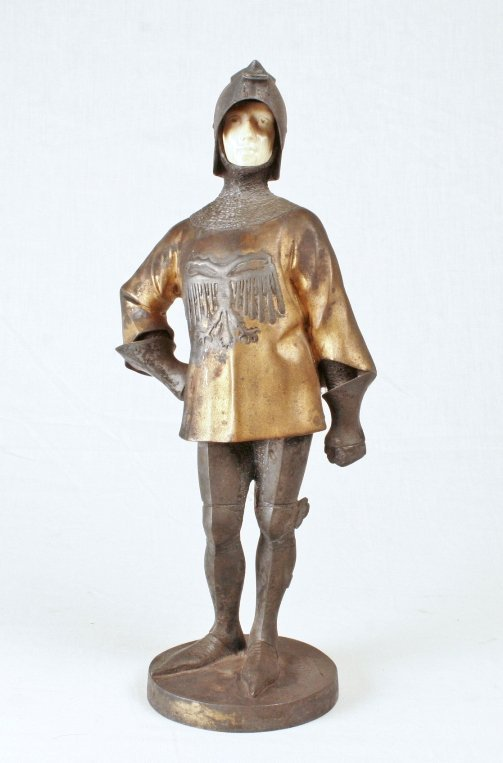 Louis Sosson Gilt Bronze Knight w/ Ivory Face