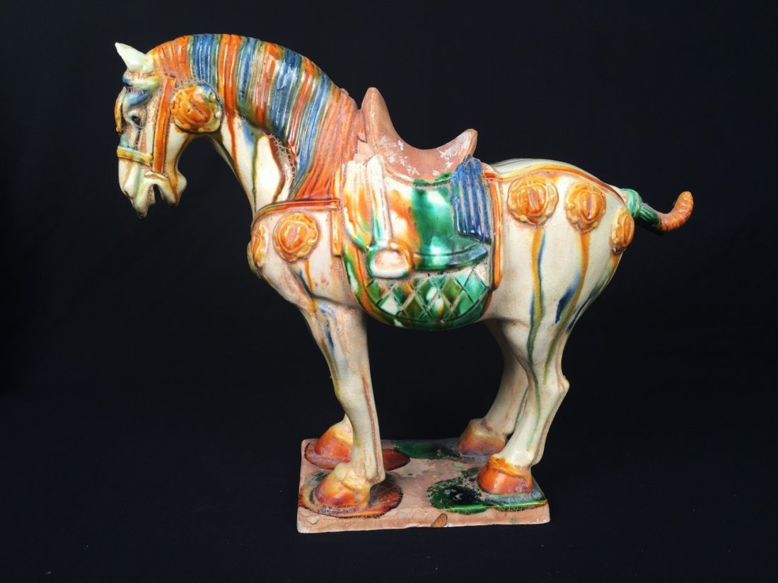 TANG STYLE MULTICOLORED POTTERY CHINESE HORSE