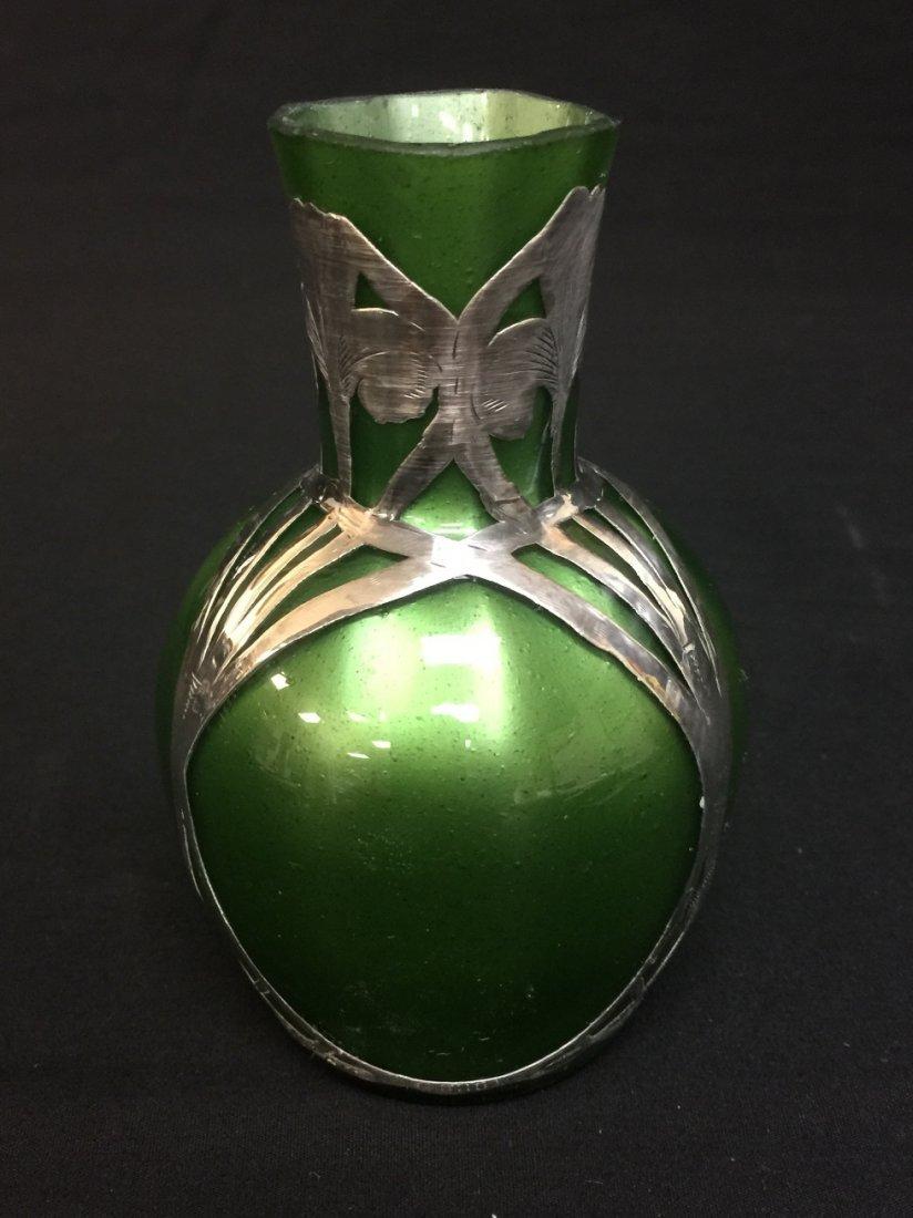 LOETZ SILVER OVERLAY GREEN ART GLASS VASE