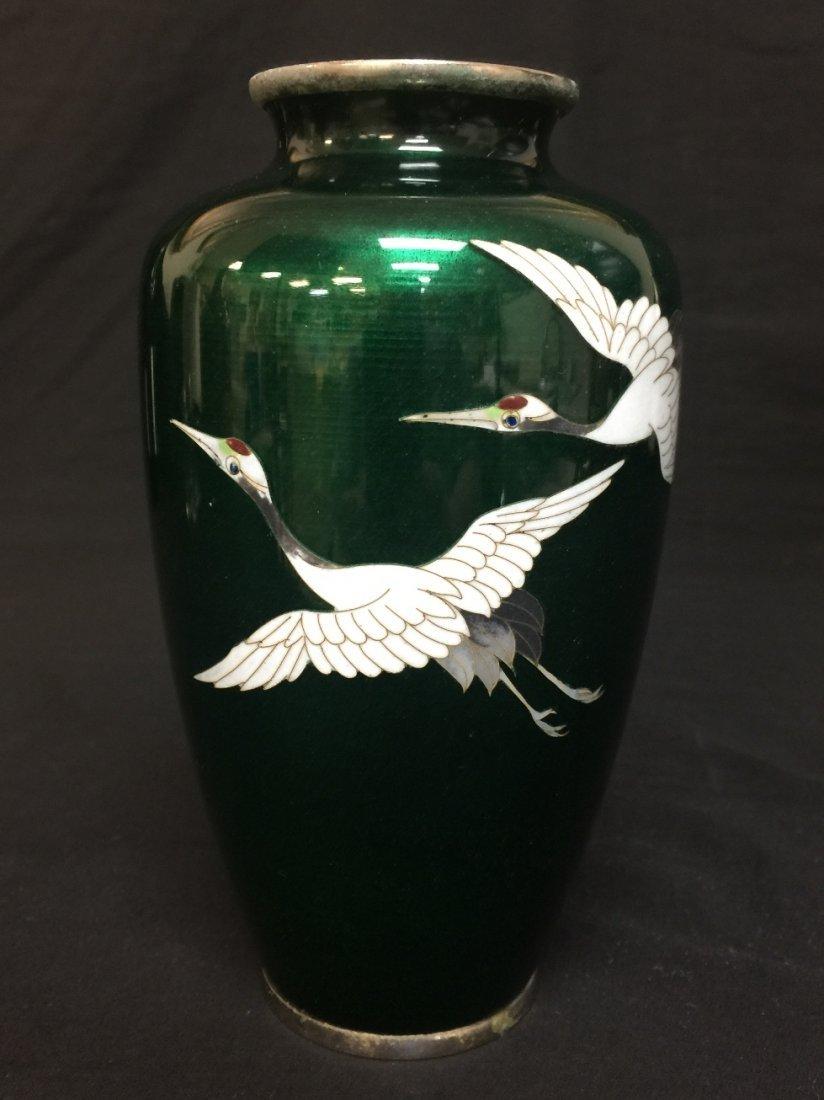 JAPANESE CLOISONNE VASE, BIRDS