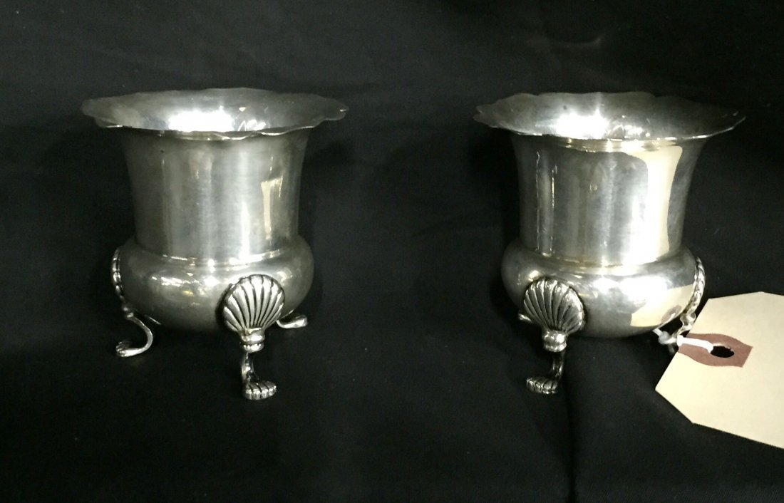 Sterling Pair. Cartier Footed Toothpick Holders 112g