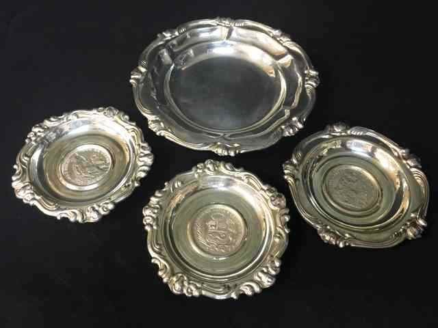 4pc Sterling Lima Coin Tray Set, 321g