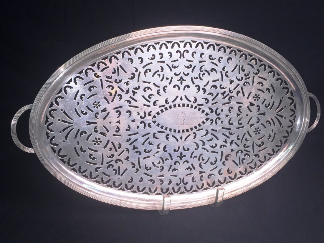Paul Storr Pierced Footed Tray, 1283g